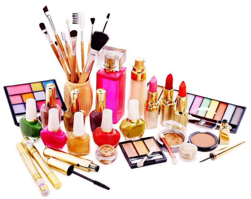 Decorative cosmetics and perfume. Isolated royalty free stock image