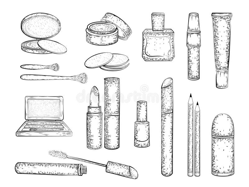 Decorative cosmetics set stock illustration