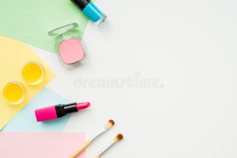 Decorative cosmetics on white background top view.  stock photo