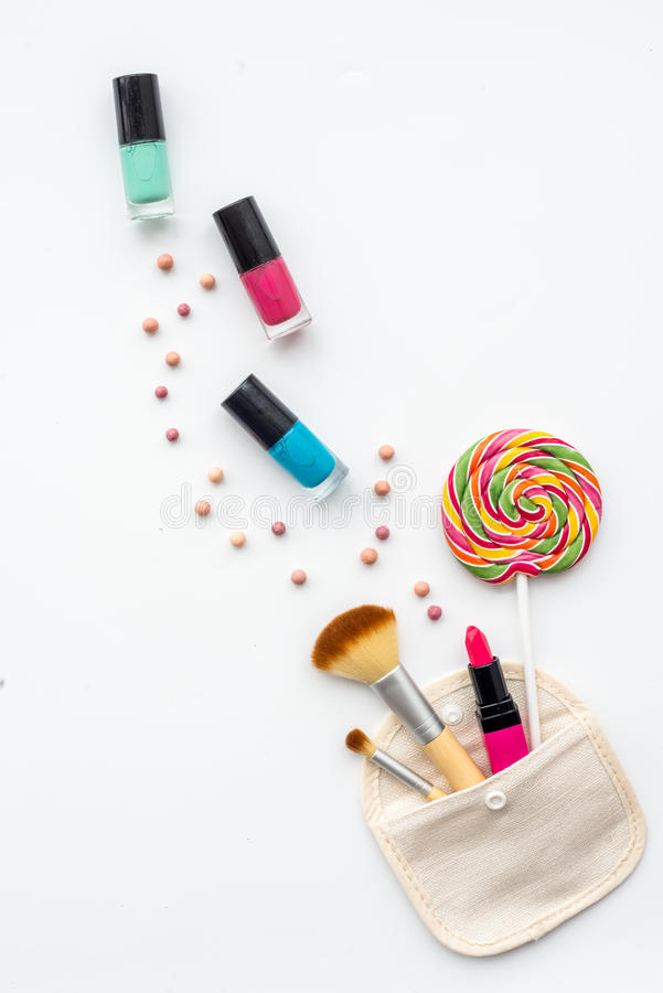 Decorative cosmetics on white background top view.  stock images