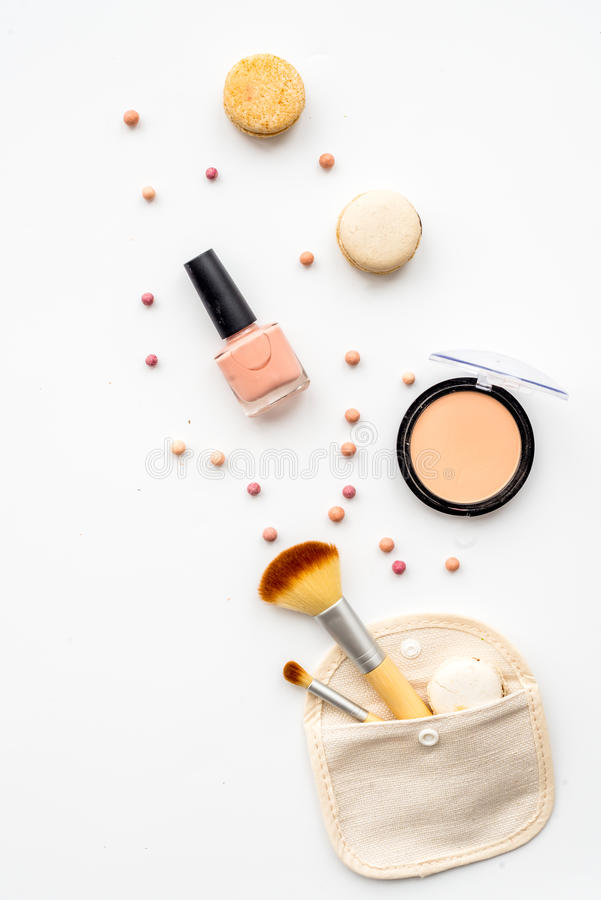 Decorative cosmetics on white background top view royalty free stock photos