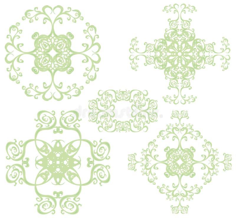 Decorative cross set III. Decorative cross set, color. 5 black floral elements royalty free illustration