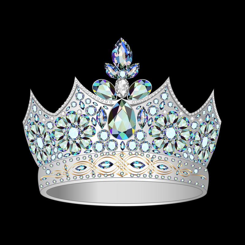 Decorative crown of silver and precious stones royalty free illustration