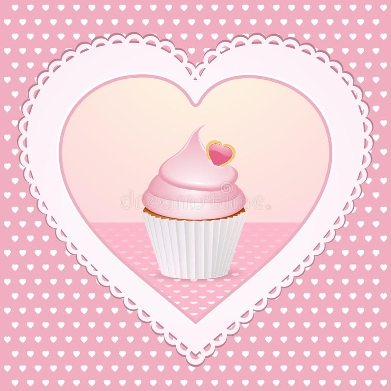 Decorative cupcake love heart vector illustration