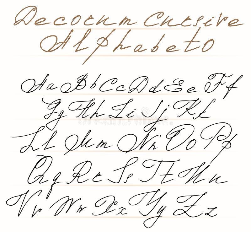 Decorative cursive letters with swirls stock vector - Letras para serigrafia ...
