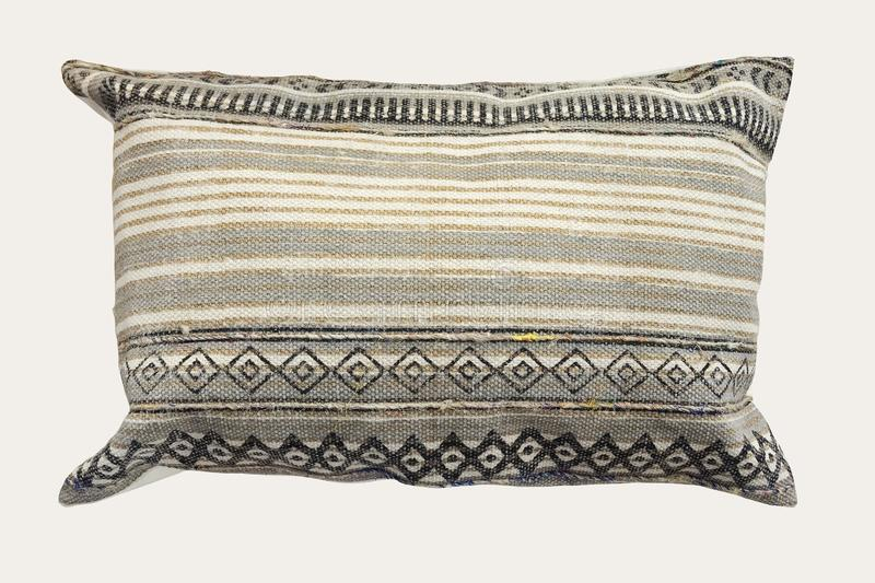 Decorative cushion with knitted pattern royalty free stock photography