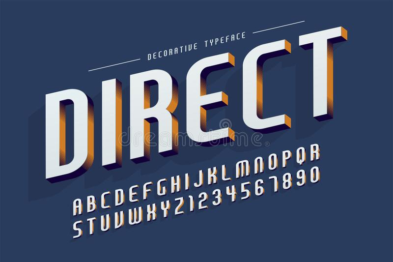 Decorative 3d font, letters and numbers vector illustration. Easy Color Swatches control vector illustration