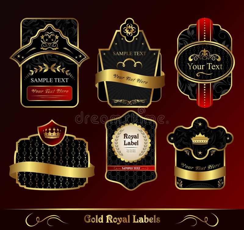 Free Decorative Dark Gold Frames Labels Royalty Free Stock Photography - 17733557