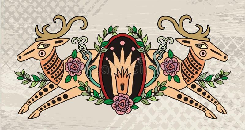 Download Decorative deer emblem stock vector. Image of flowers - 5319401