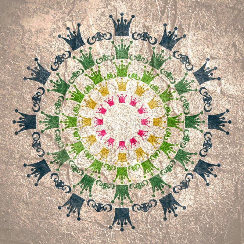 Decorative design element. Pattern with crown. Circular ornamental symbol stock illustration