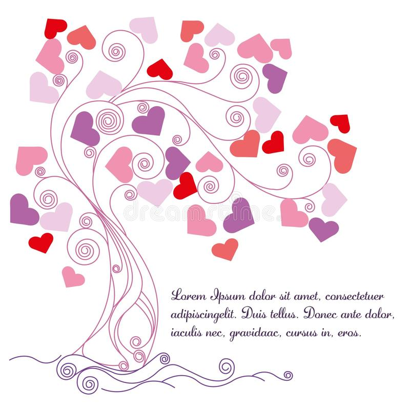 Tree with lovely hearts/Vector illustration. stock illustration