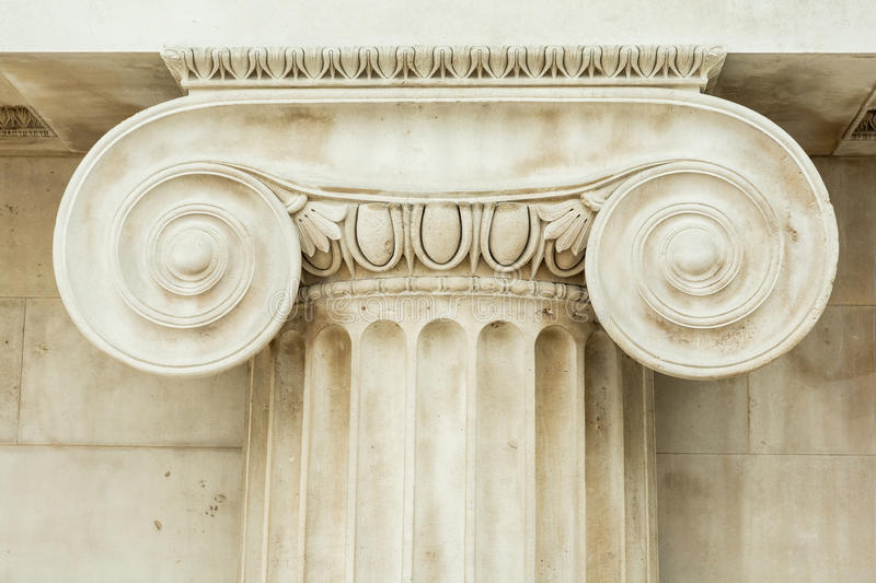 Decorative detail of an ancient Ionic column royalty free stock photography
