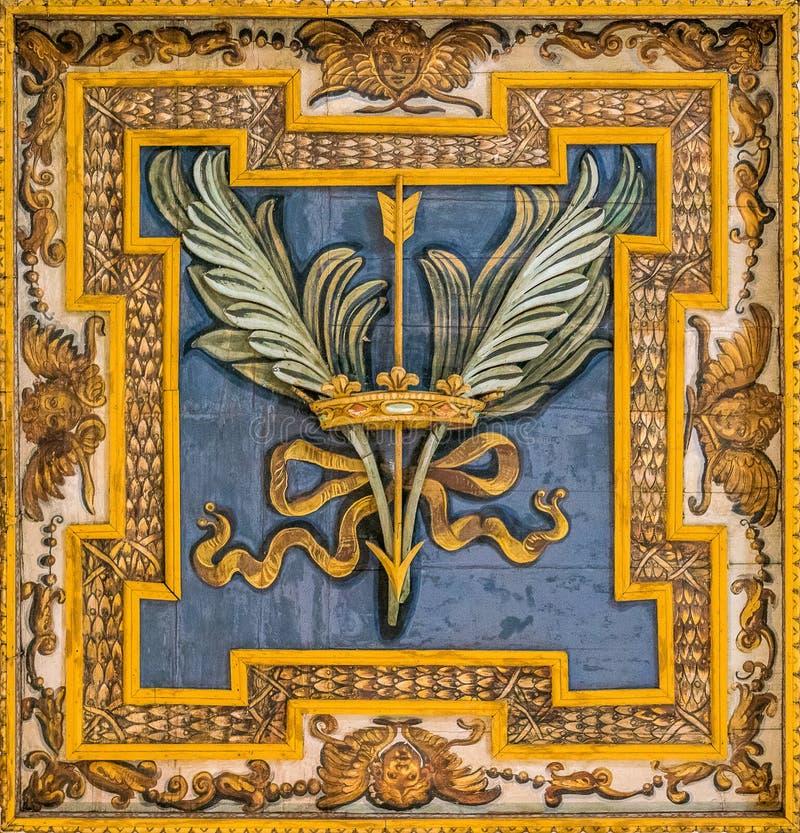 Decorative detail from the Basilica of San Sebastiano Fuori Le Mura, in Rome, Italy. San Sebastiano fuori le mura Saint Sebastian outside the walls, or San stock image