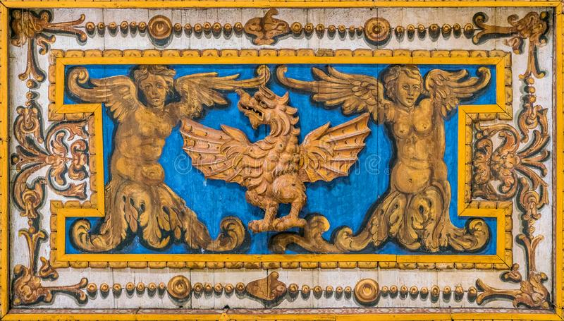 Decorative detail with Borghese Family dragon in the ceiling of the Basilica of San Sebastiano Fuori Le Mura, in Rome, Italy. San Sebastiano fuori le mura Saint stock photography