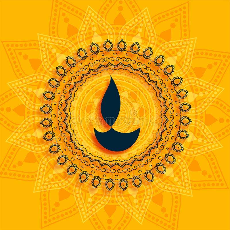 Decorative Diwali diya mandala Stil gelber Hintergrund lizenzfreie abbildung