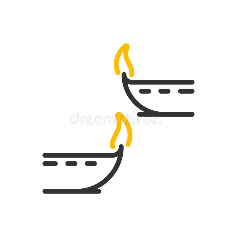 Decorative diwali lamps icon. Vector thin line illustration design objects with flame burning royalty free illustration