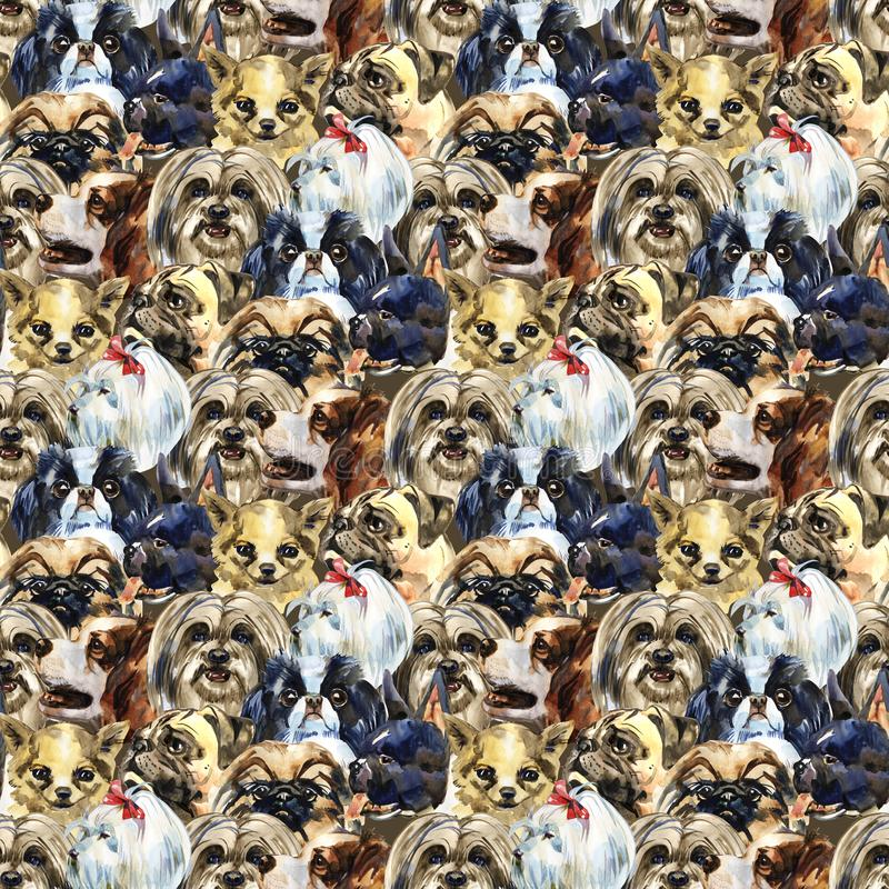 Decorative dog breeds wild animal pattern in a watercolor style. Full name of the animal: dogs. Aquarelle wild animal stock image