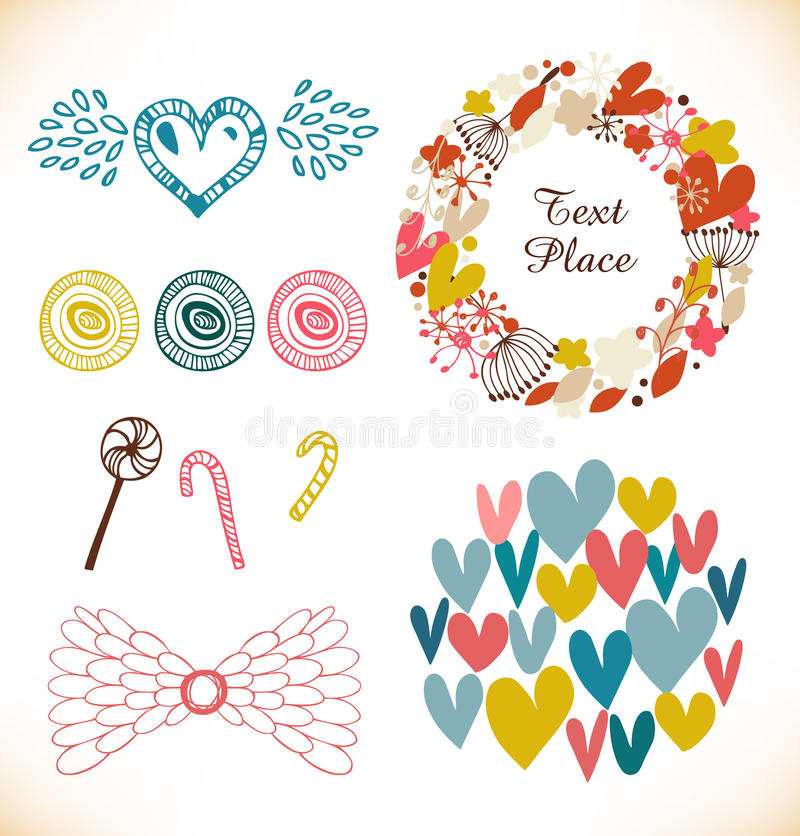 Decorative doodle collection with many cute elements. Hearts, flowers, angel wings, lollipops, sugarplum stock illustration