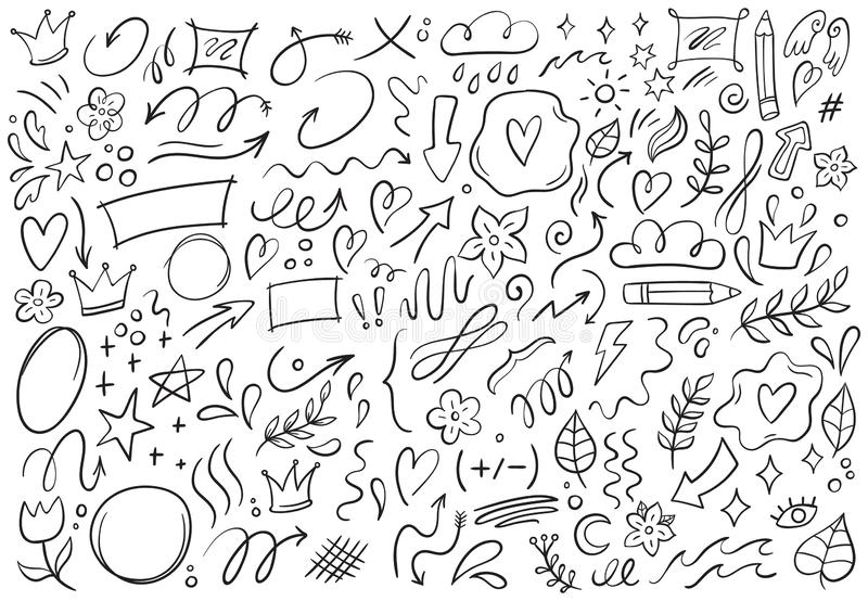 Decorative doodles. Hand drawn pointing arrow, outline shapes and doodle frames vector illustration set. Decorative doodles. Hand drawn pointing arrow, outline stock illustration