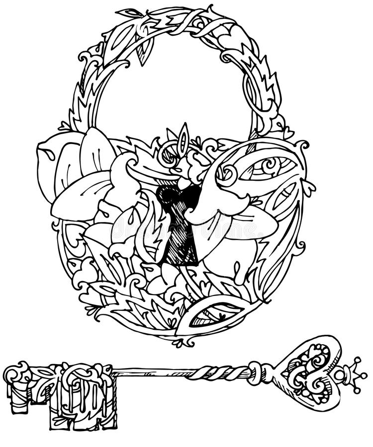 door lock and key black and white. Download Decorative Door Lock And Key. Graphic Illustration Handmade Art Key Black White