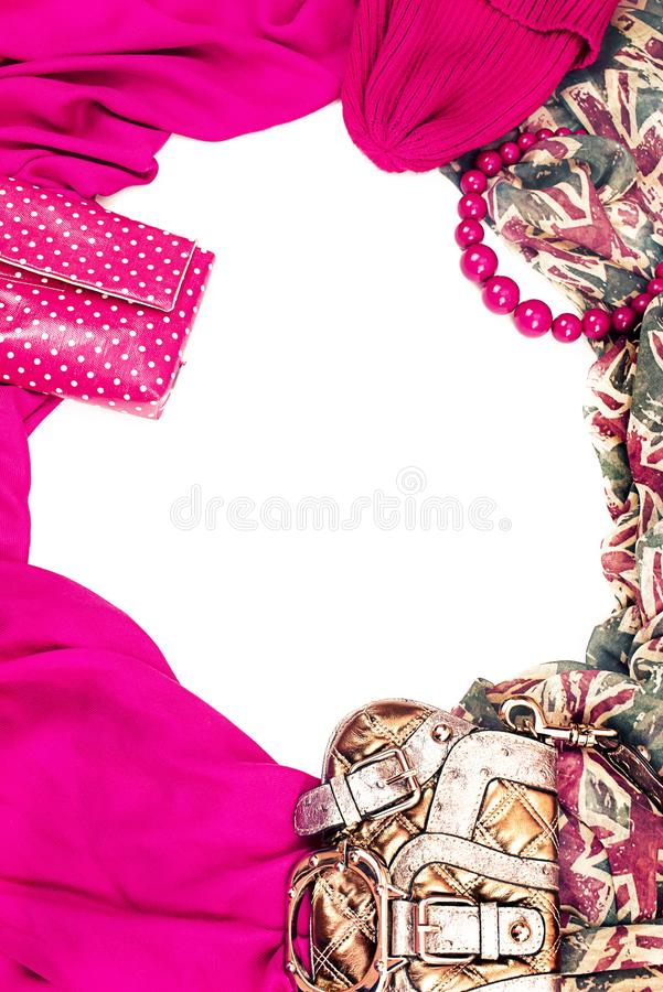 Decorative draping frame of the textile. Women accessories scarf. Pink pattern British flag beads gift bag. White background top view stock images