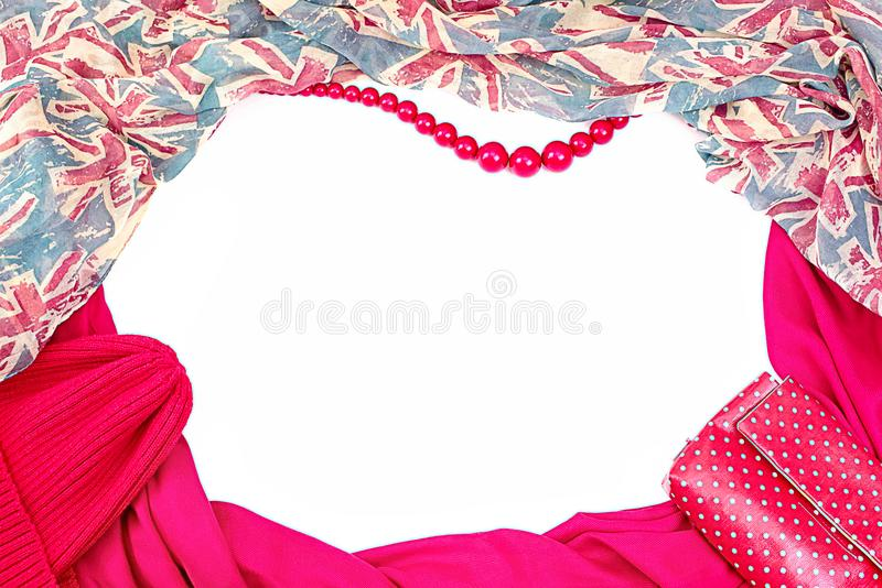 dc109a974 Decorative draping frame of the textile. Women accessories scarf. Red  pattern British flag beads