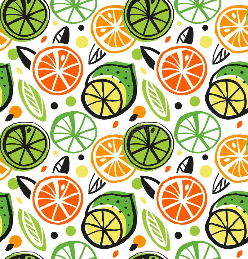 Decorative drawing seamless pattern with citrus fruits. Colorful tropical background. vector illustration