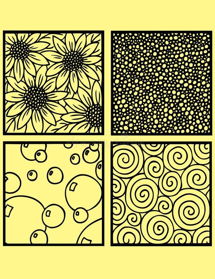 decorative drawing tiles royaltyfri illustrationer