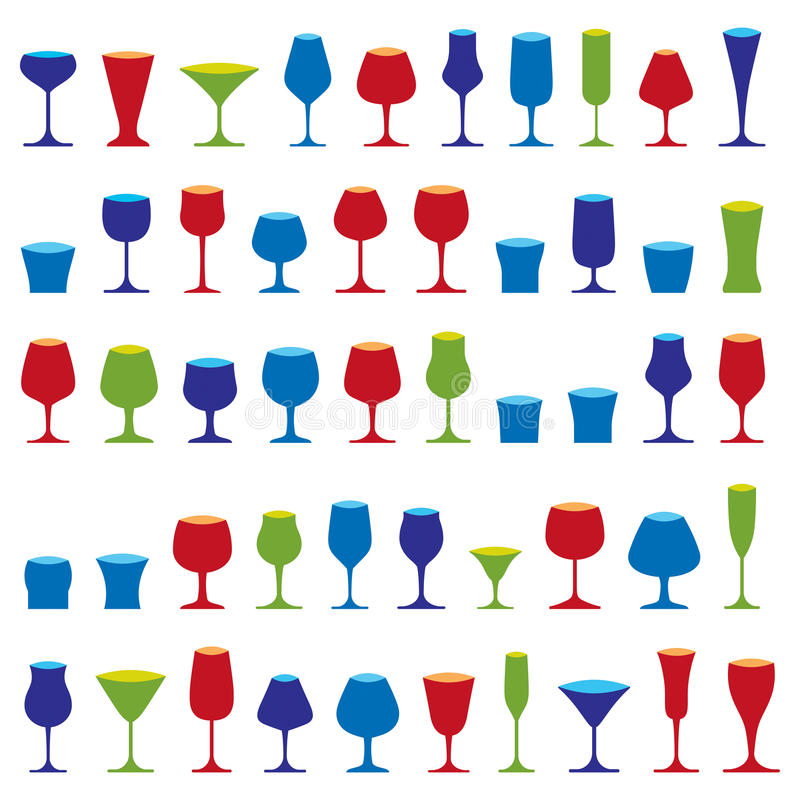 Decorative drinking glasses collection. Set of celebration goblets, simple vector glassware, can be used in graphic and web stock illustration