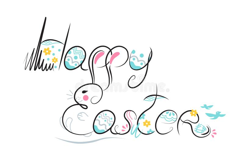 Decorative Easter composition hand drawn black font on white background. Funny doodle from bunny, eggs, flowers, leaves. Vector. Illustration greeting card stock illustration
