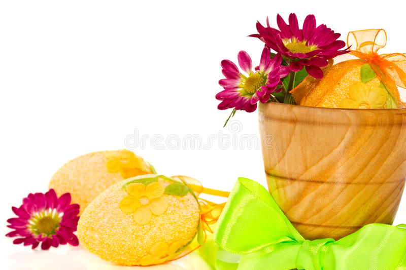 Decorative Easter eggs with flowers stock photos