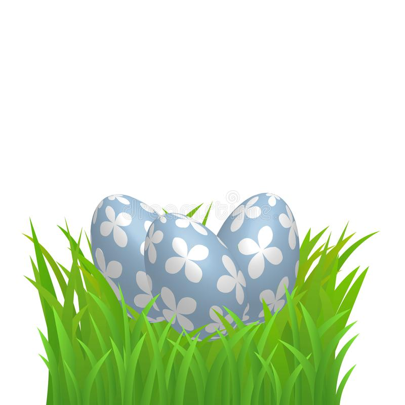 Decorative Easter Eggs Set On Green Grass Border, Isolated On White Background. Vector Illustration Colourful Easter Eggs. stock illustration