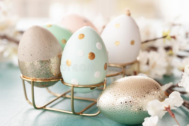 Decorative easter eggs. And spring time blossoms royalty free stock photos