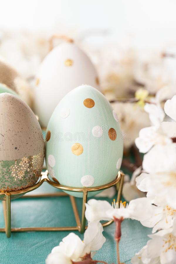 Decorative easter eggs. And spring time blossoms royalty free stock image