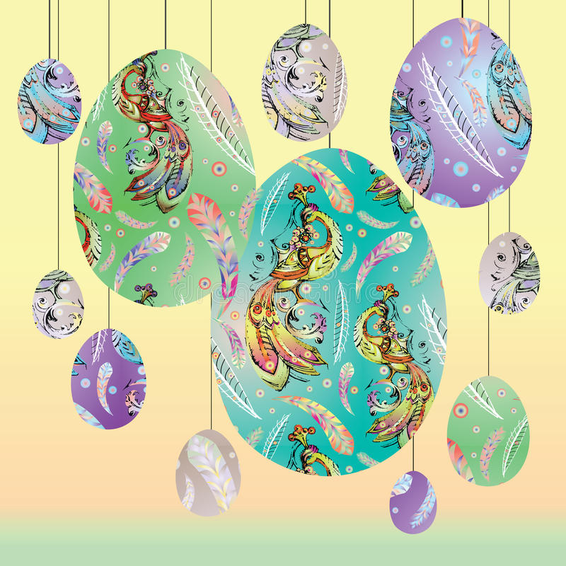 Decorative easter eggs with stylized fire-bird royalty free illustration
