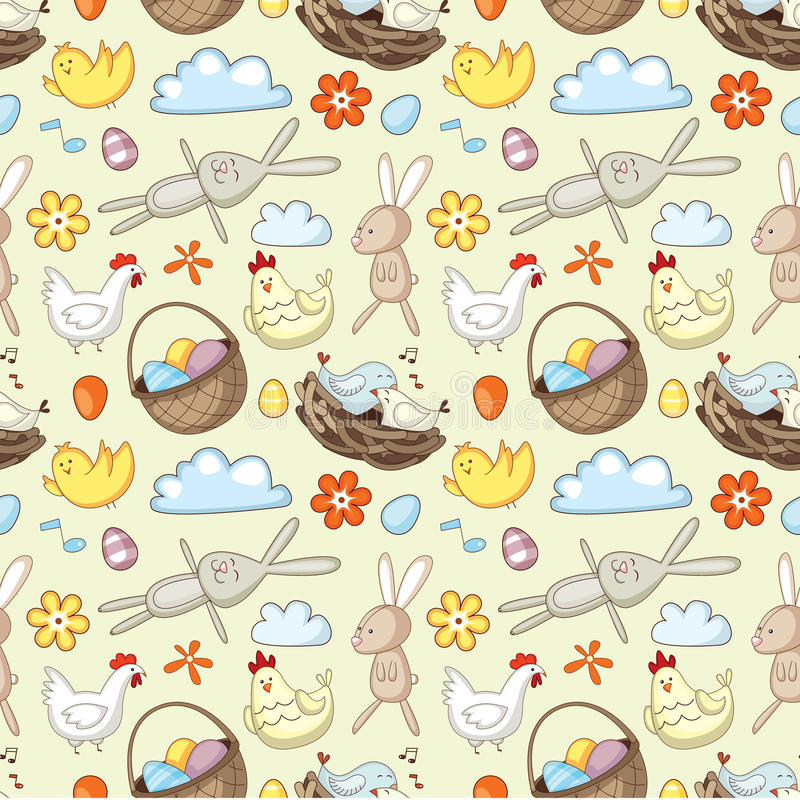 Decorative Easter pattern. With eggs, rabbits and chickens vector illustration