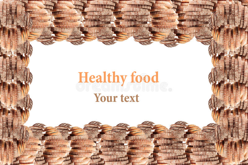 Decorative edging of the piles of black rye bread and white bread on a white background. Isolated. Frame. Concept art. Food. Background. Copy space stock images
