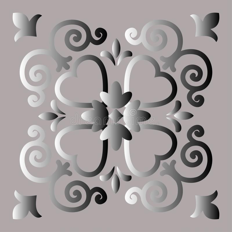 Decorative element, abstract image of a silvery flower, background for design. royalty free illustration