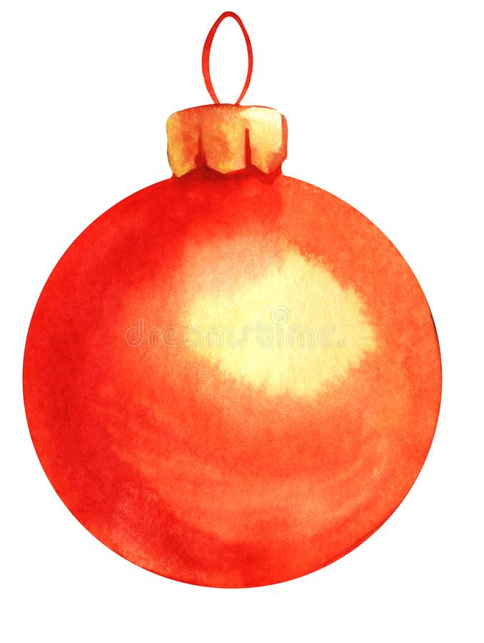 Decorative element. Christmas ball. Christmas tree toy. Red glass ball. Hand drawn watercolor background illustration. Isolated on white background vector illustration
