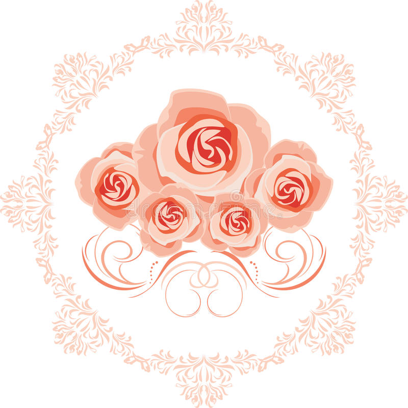 Decorative element with pink roses for greeting card design stock images
