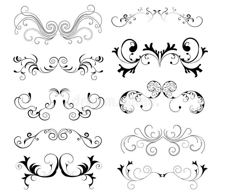 Decorative elements. 10 different decorative ornamental element stock illustration