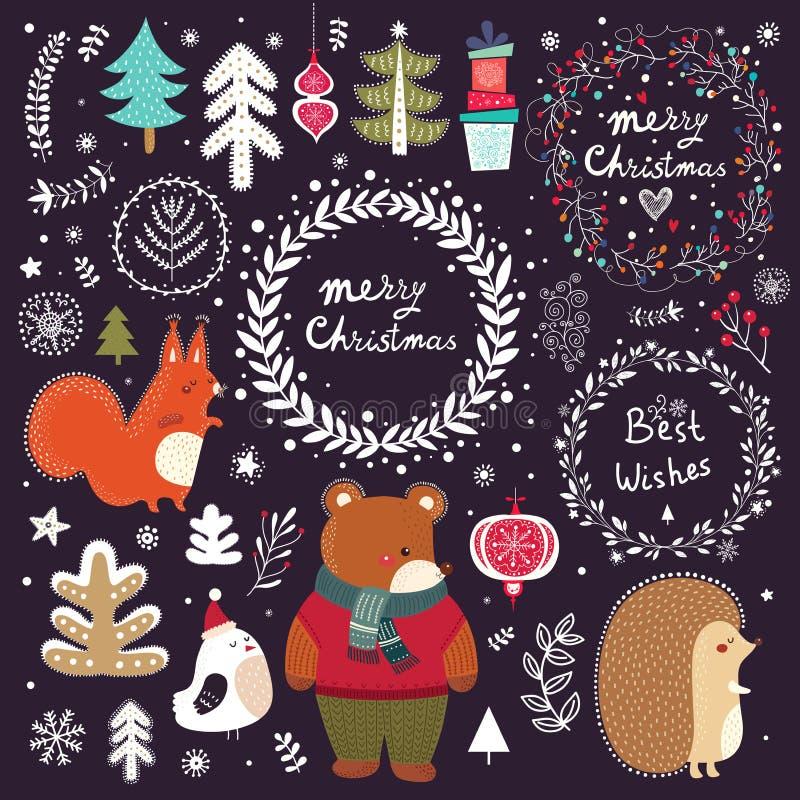 Decorative elements and animals stock illustration