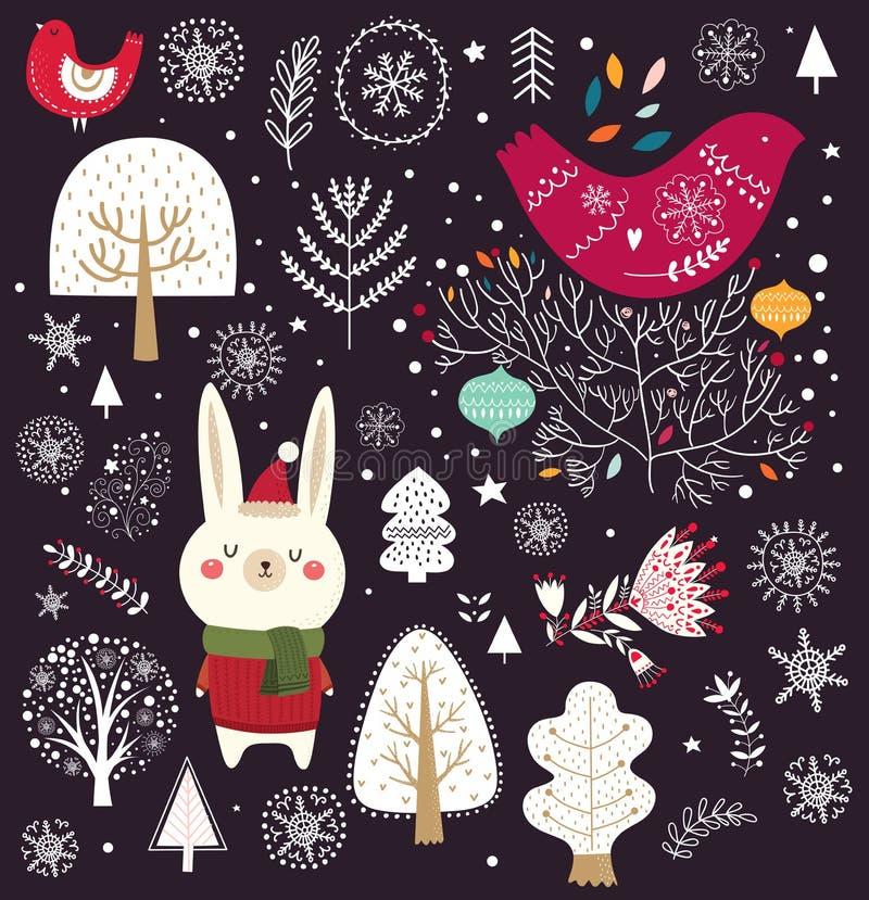 Decorative elements and animals vector illustration