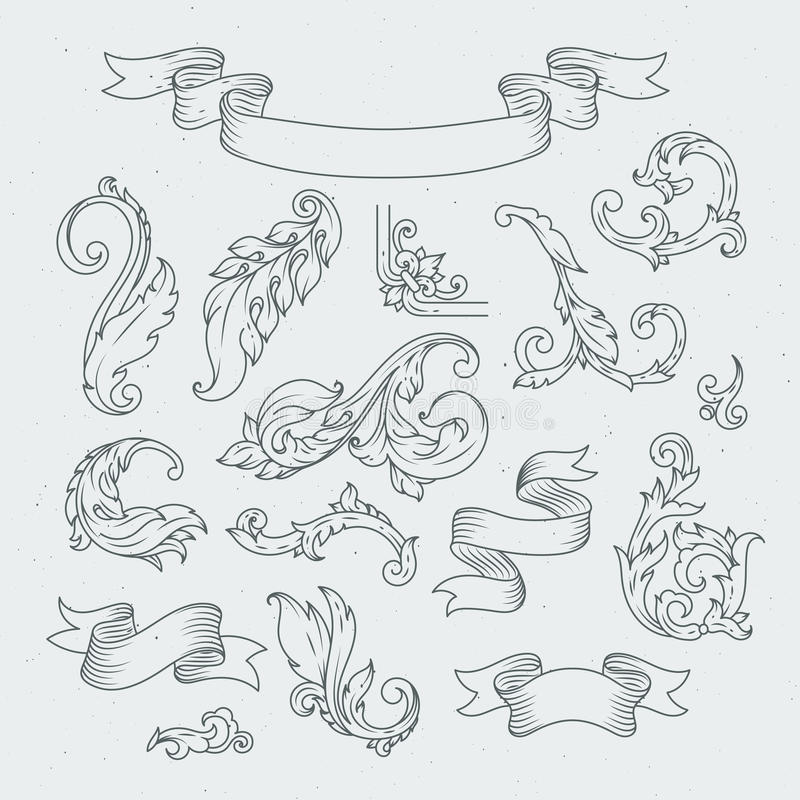 Decorative elements in baroque style. Victorian ornament, acanthus leaves royalty free illustration