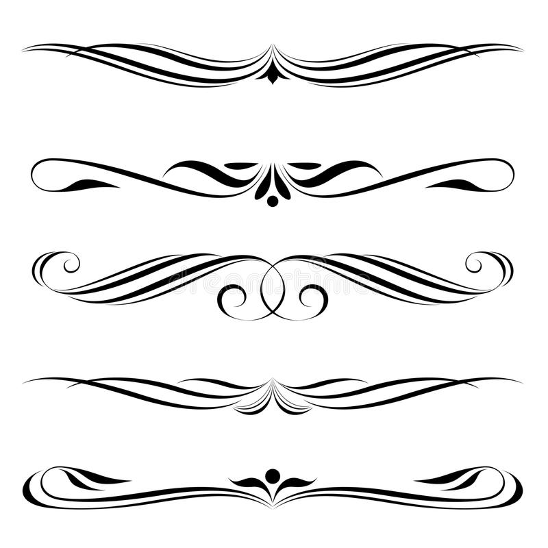 Decorative elements, border and page rules stock illustration