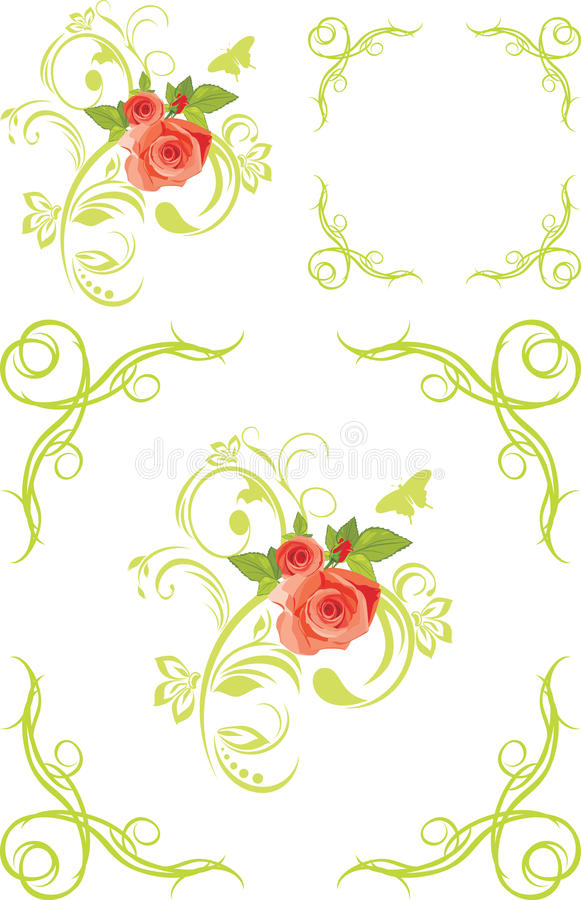Decorative elements and frames with roses