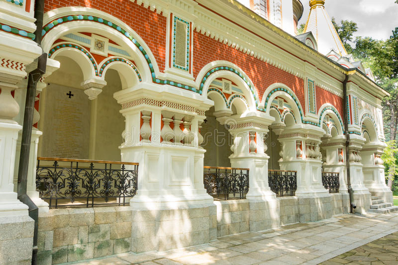 Decorative elements of Russian Orthodox architecture in Shipka Monastery stock image