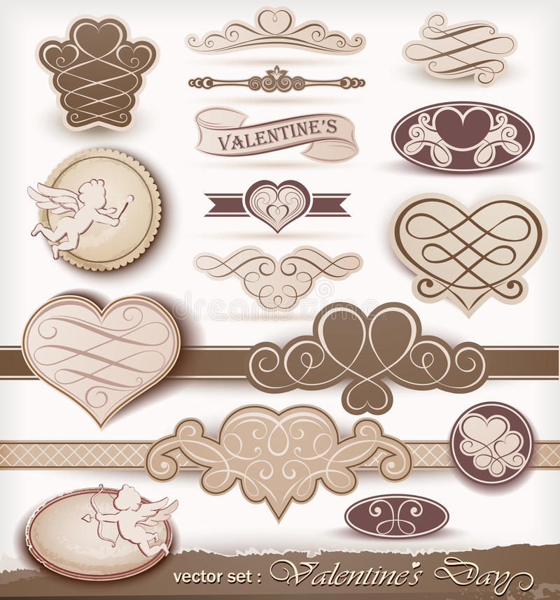 Decorative elements on Valentine's Day royalty free illustration