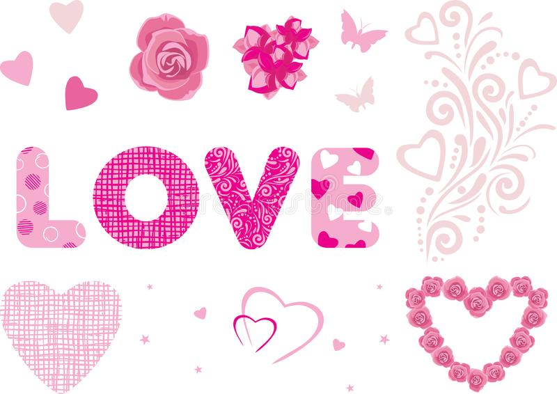 Decorative elements for Valentines Day design stock image