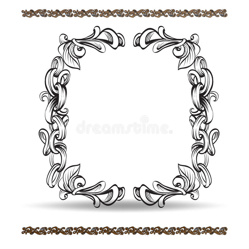 Decorative elements in vintage style for decoration layout, framing, for text for advertising, vector illustration hands, set vector illustration